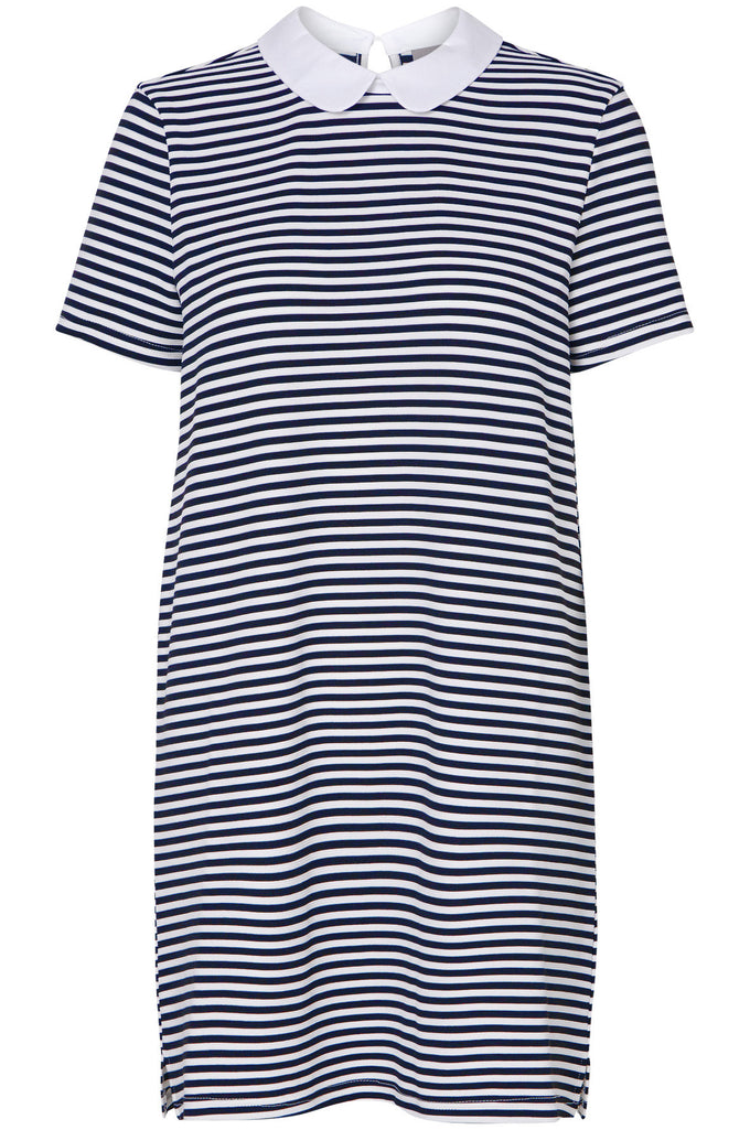 STRIPED MINI DRESS DARK BLUE