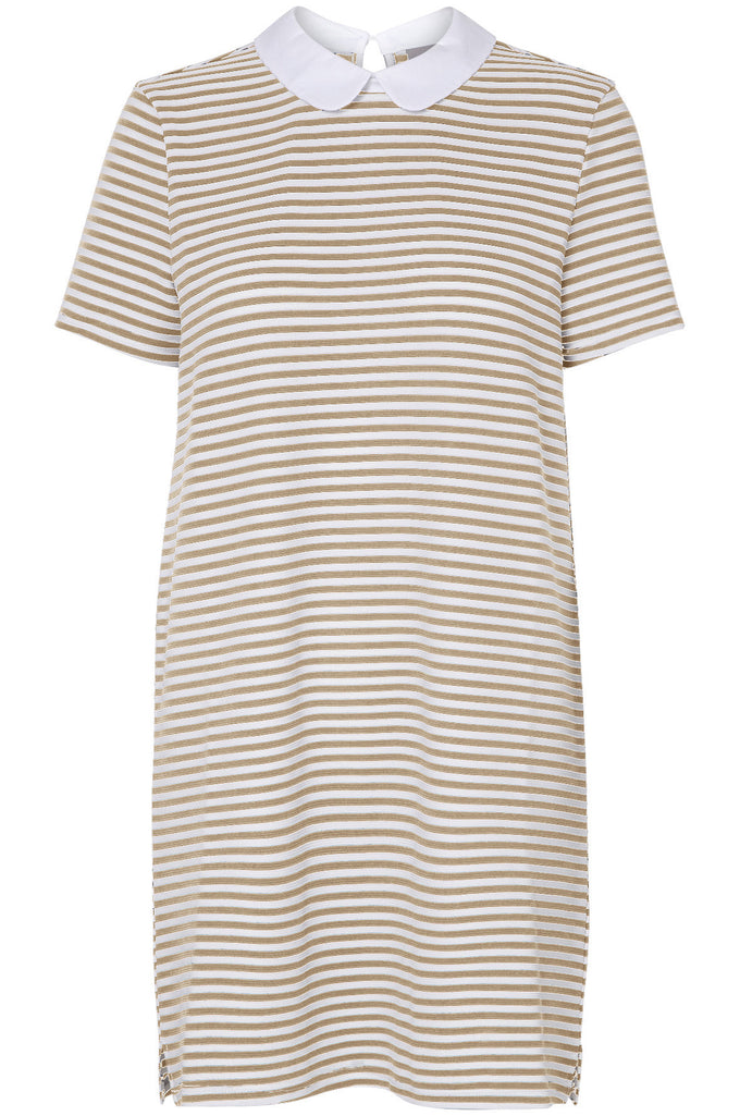 STRIPED MINI DRESS SNOW WHITE