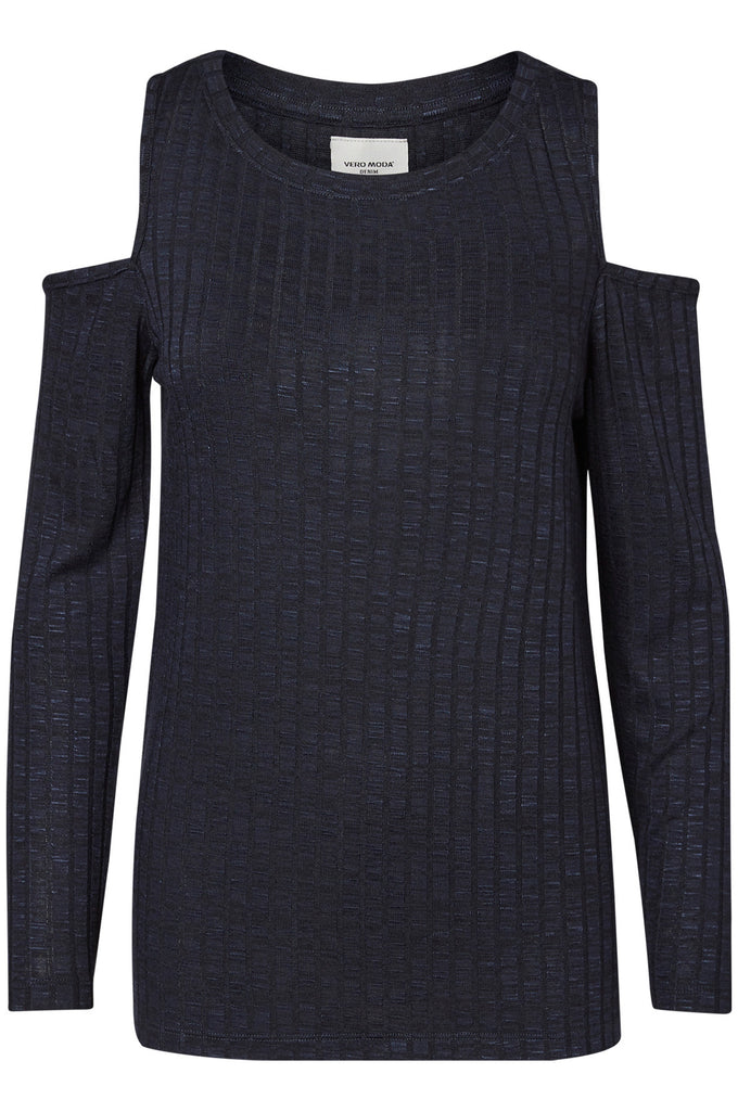 COLD SHOULDERS RIBBED SWEATER NAVY BLAZER