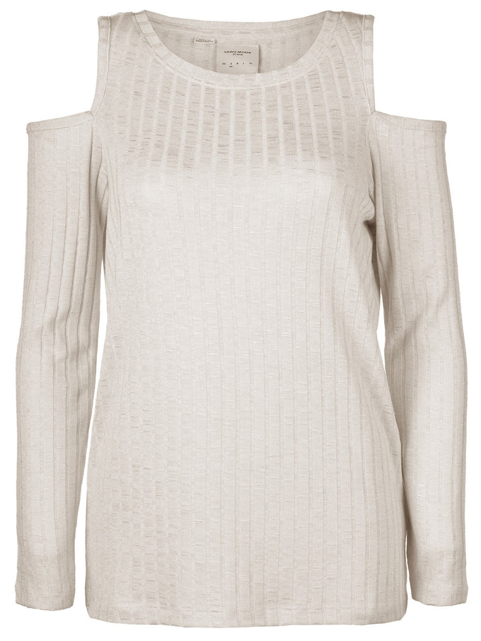 COLD SHOULDERS RIBBED SWEATER OATMEAL