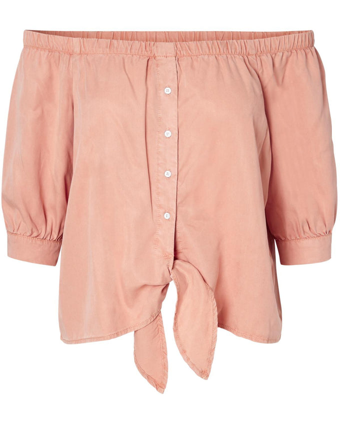 OFF-THE-SHOULDER BUTTONED SHIRT DUSTY CORAL
