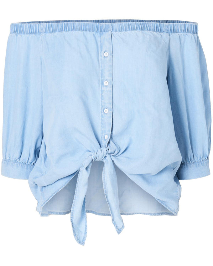 OFF-THE-SHOULDER BUTTONED SHIRT LIGHT BLUE DENIM