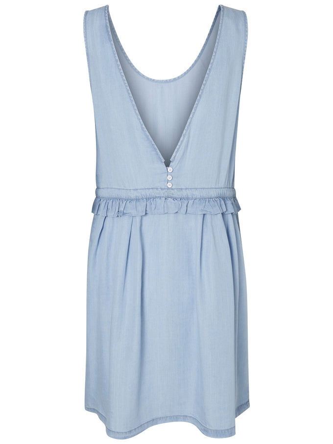 ROBE COURTE À VOLANTS BLEU DENIM PALE