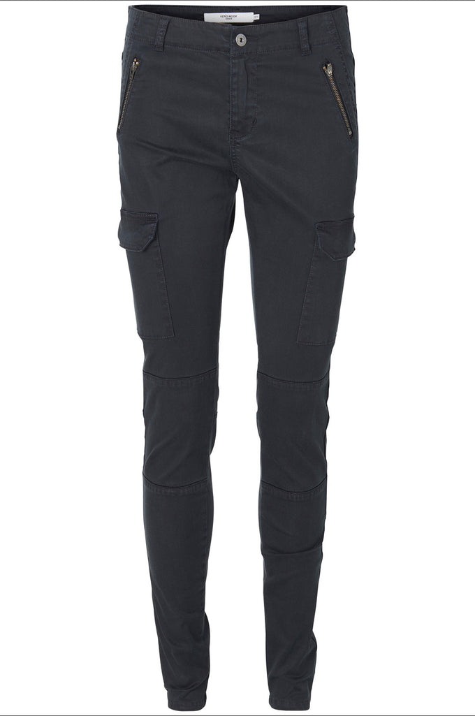 ZIPPER DETAIL CARGO PANTS BLACK