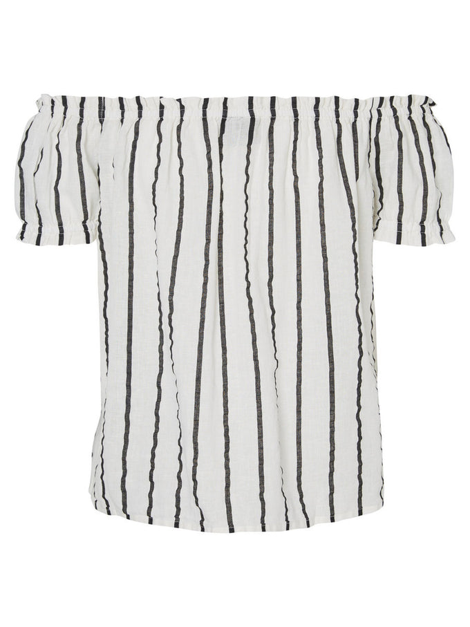 LINEN-BLEND STRIPED OFF-THE-SHOULDER BLOUSE SNOW WHITE BLACK