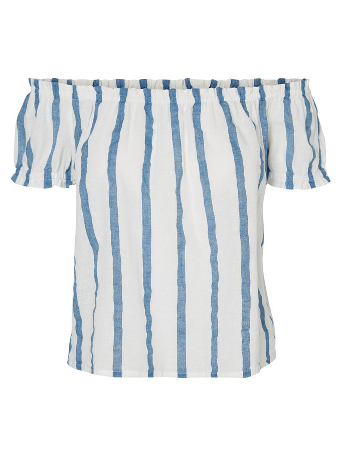 LINEN-BLEND STRIPED OFF-THE-SHOULDER BLOUSE SNOW WHITE
