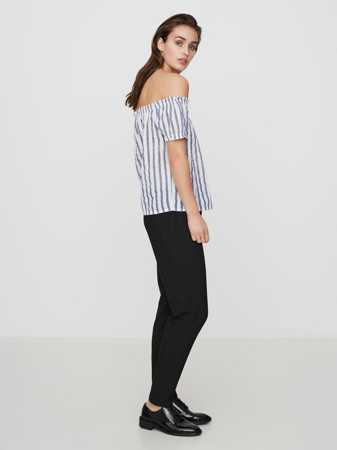 LINEN-BLEND STRIPED OFF-THE-SHOULDER BLOUSE SNOW WHITE BLUE