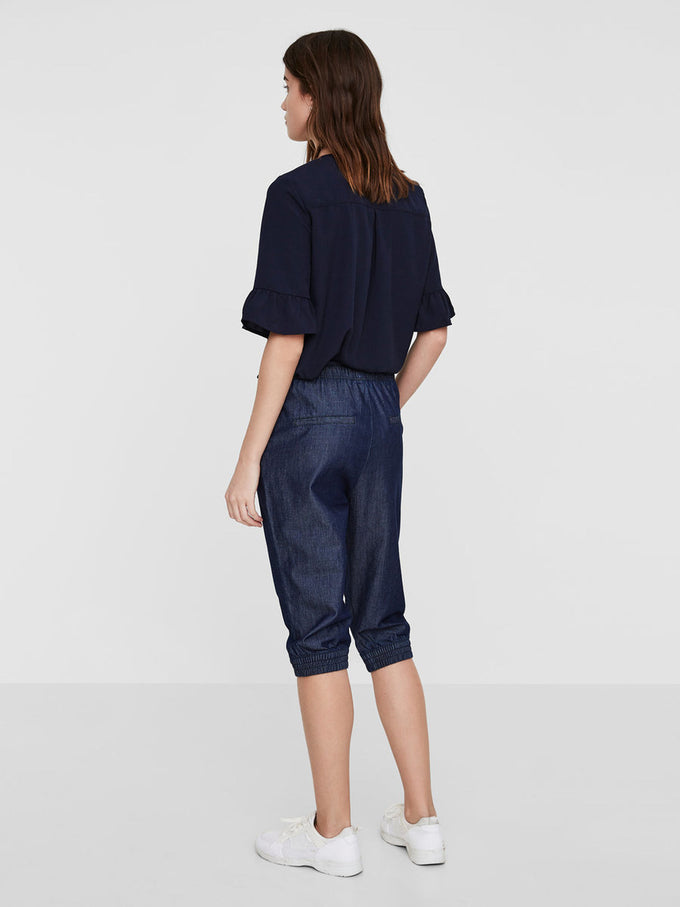 LOOSE CHAMBRAY CAPRI DARK BLUE DENIM