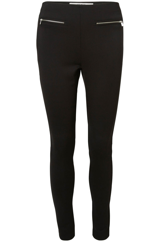 ZIPPER DETAIL ANKLE LEGGING Black