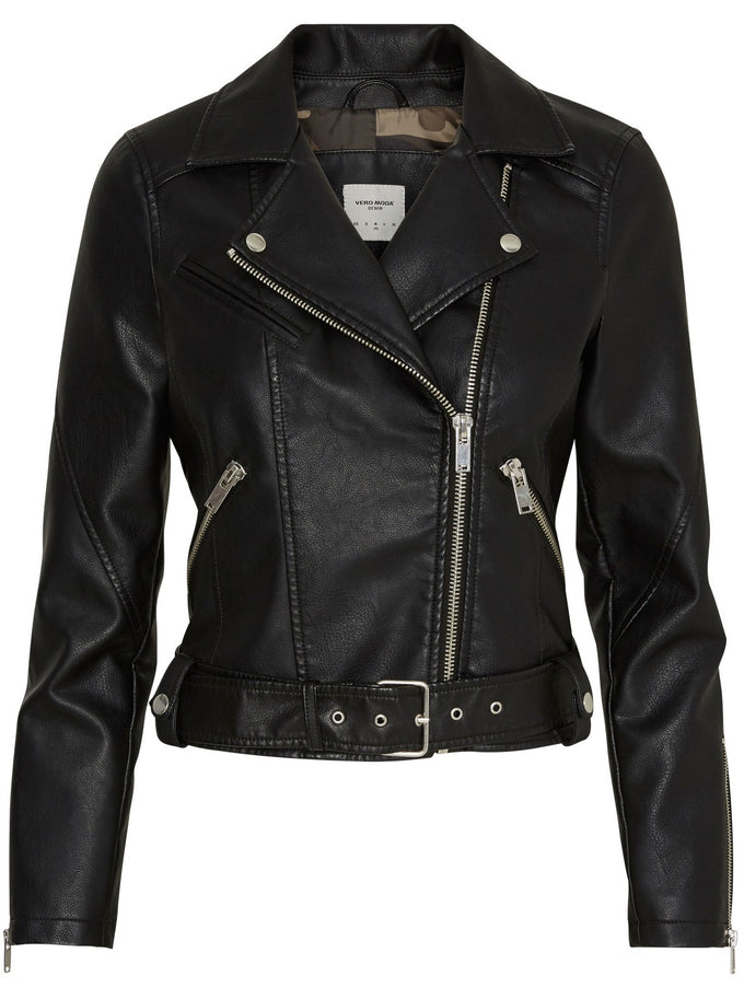 VMMONNA FAUX-LEATHER JACKET BLACK