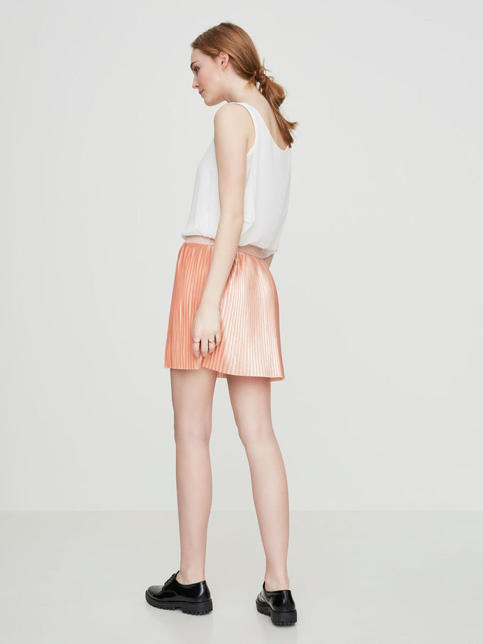 SHORT PLEATED SKIRT DUSTY CORAL
