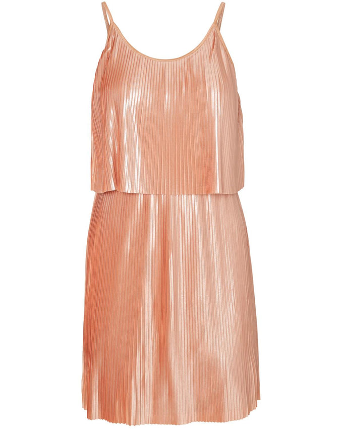 SHORT PLEATED DRESS DUSTY CORAL
