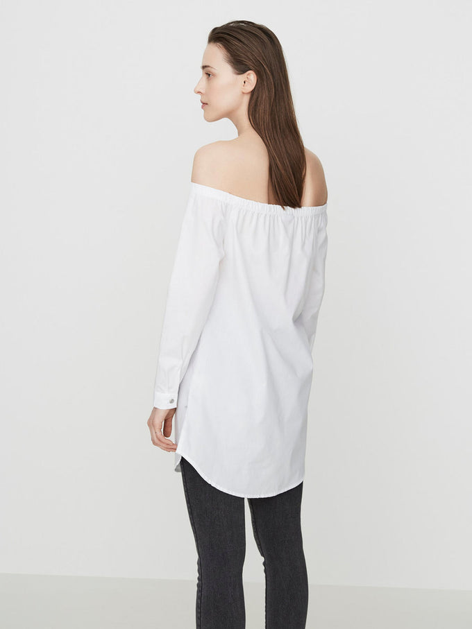 OFF-THE-SHOULDER LONG SHIRT BRIGHT WHITE