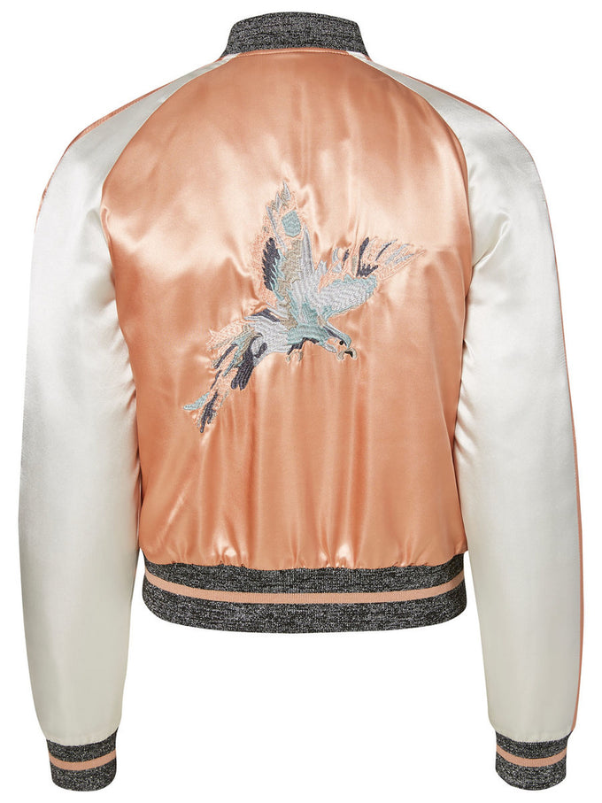 SILKY EMBROIDED BOMBER JACKET DUSTY CORAL