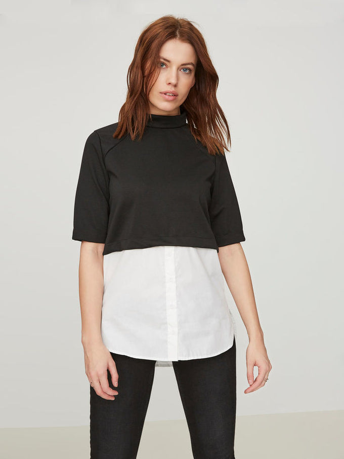 NMYASI HIGH-LOW BLOUSE BLACK