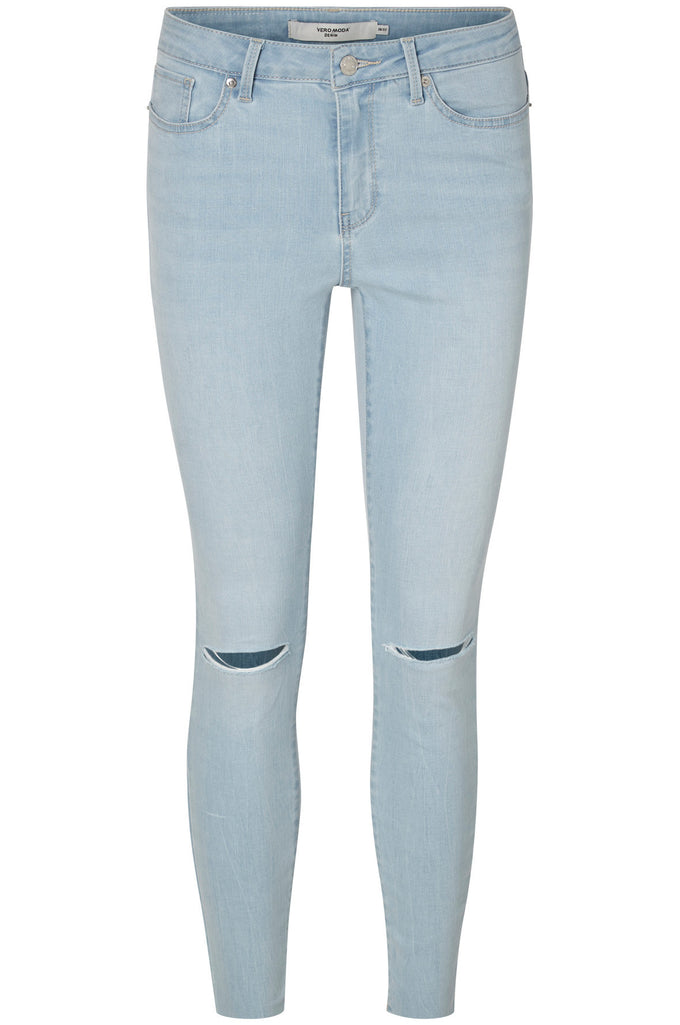 JEANS À LA CHEVILLE VMSEVEN SLIM KNEE CUT BLEU DENIM PALE
