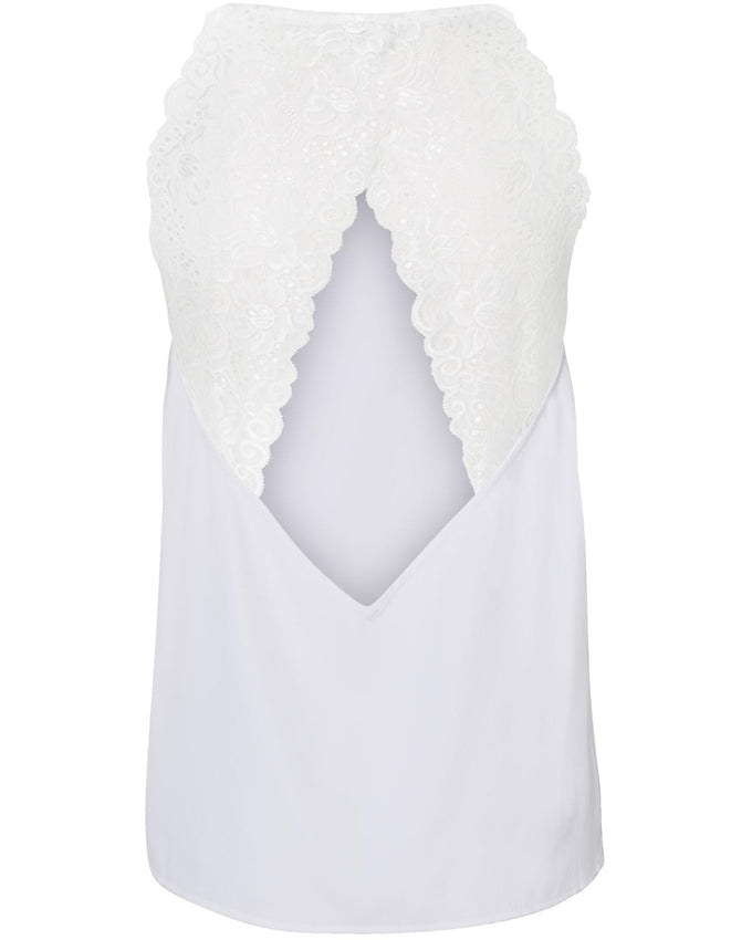 LACE DETAIL CAMI BRIGHT WHITE