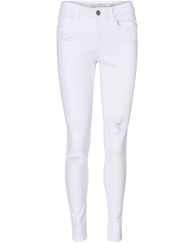SKINNY FIT DISTRESSED WHITE JEANS 879 BRIGHT WHITE