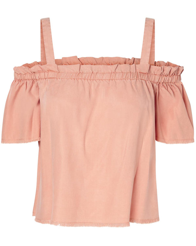 OFF-THE-SHOULDER SHORT BLOUSE DUSTY CORAL