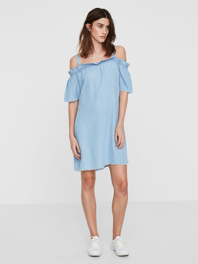 OFF-THE-SHOULDER SHORT DRESS LIGHT BLUE DENIM