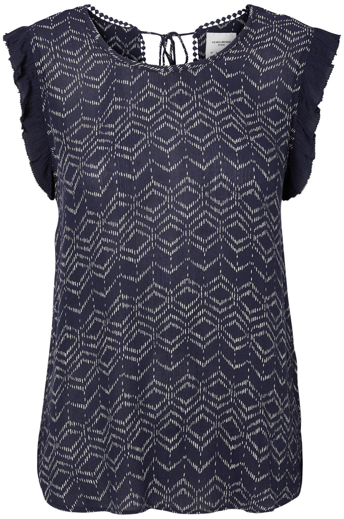 SLEEVELESS PRINTED BLOUSE NAVY BLAZER