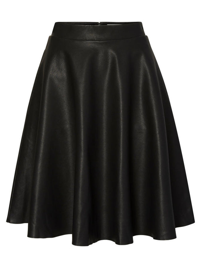 NMANNA FAUX-LEATHER SKIRT BLACK
