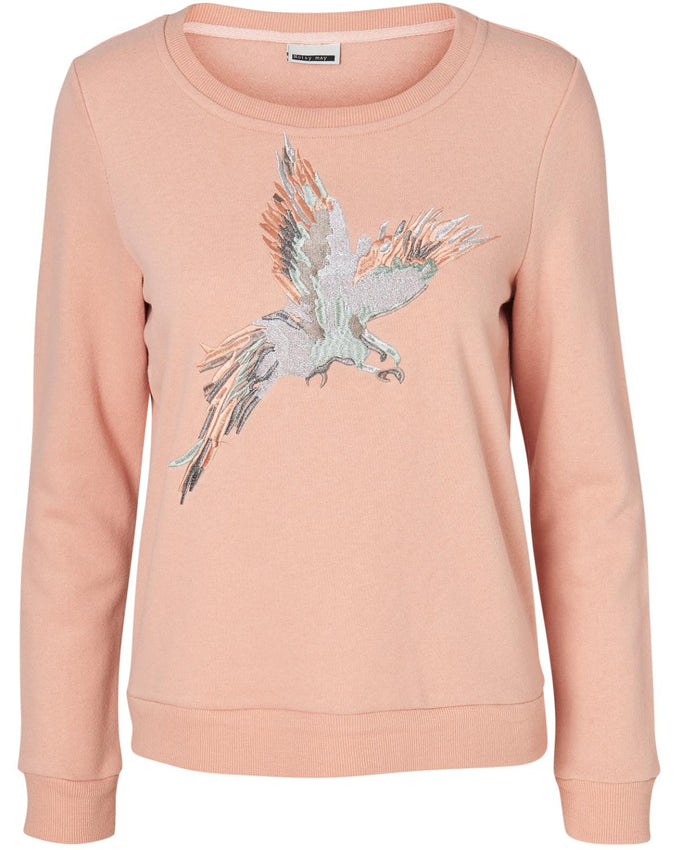 EMBROIDERED SWEATSHIRT DUSTY CORAL