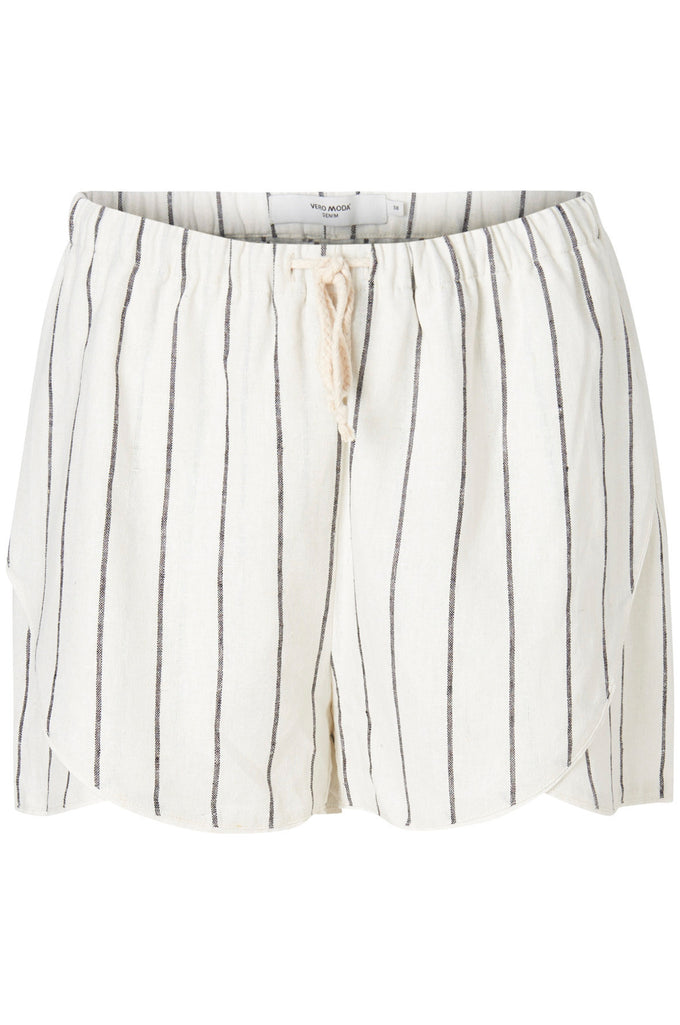 LINEN-BLEND CASUAL STRIPED  SHORTS SNOW WHITE