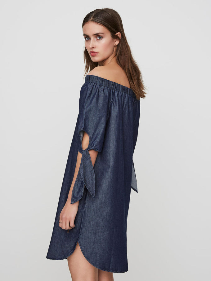 OFF-THE-SHOULDER CHAMBRAY DRESS DARK BLUE DENIM