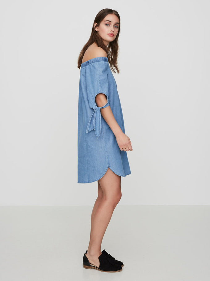 OFF-THE-SHOULDER CHAMBRAY DRESS LIGHT BLUE DENIM