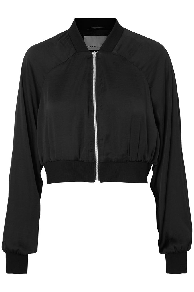 SHORT SILKY BOMBER JACKET BLACK BEAUTY