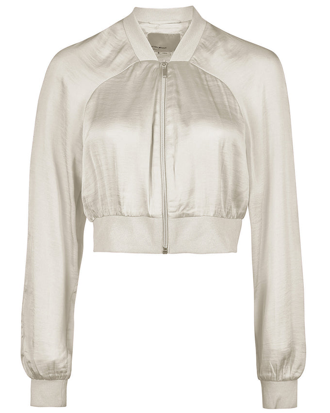 SHORT SILKY BOMBER JACKET OATMEAL