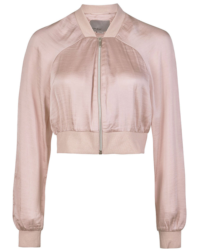 SHORT SILKY BOMBER JACKET PEACH WHIP