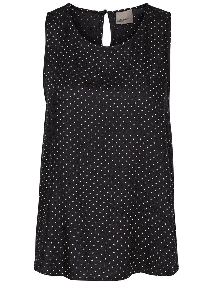 SLEEVELESS PRINTED BLOUSE BLACK