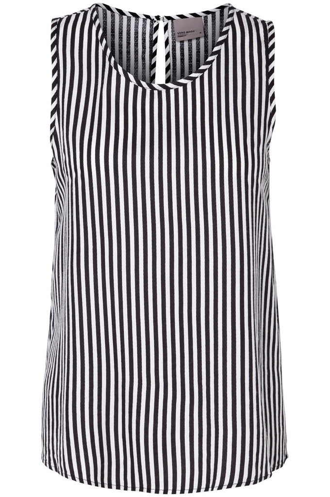 SLEEVELESS PRINTED BLOUSE BLACK/STRIPES
