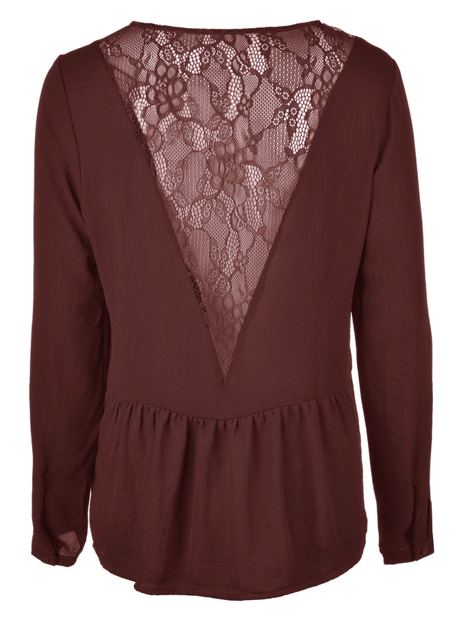 VMDELYAN LACE BACK TOP DECADENT CHOCOLATE