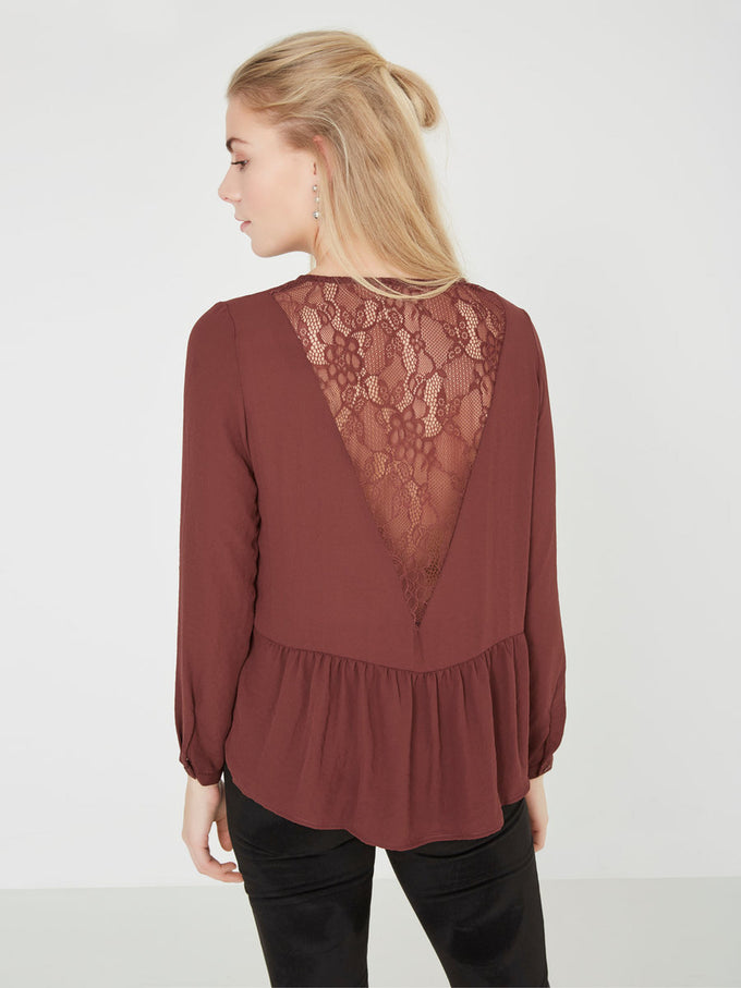VMDELYAN LACE BACK TOP BLACK