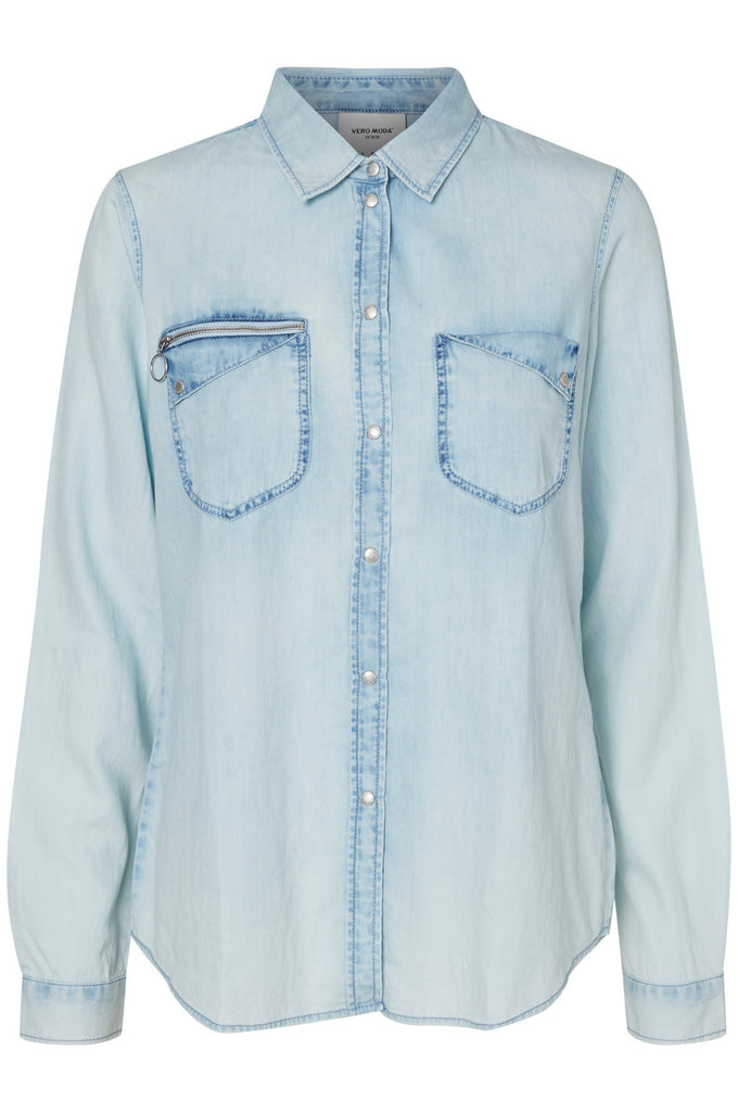 LIGHT WASHED DENIM SHIRT LIGHT BLUE DENIM