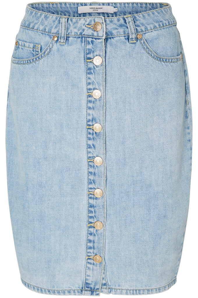 BUTTONED DENIM PENCIL SKIRT LIGHT BLUE DENIM