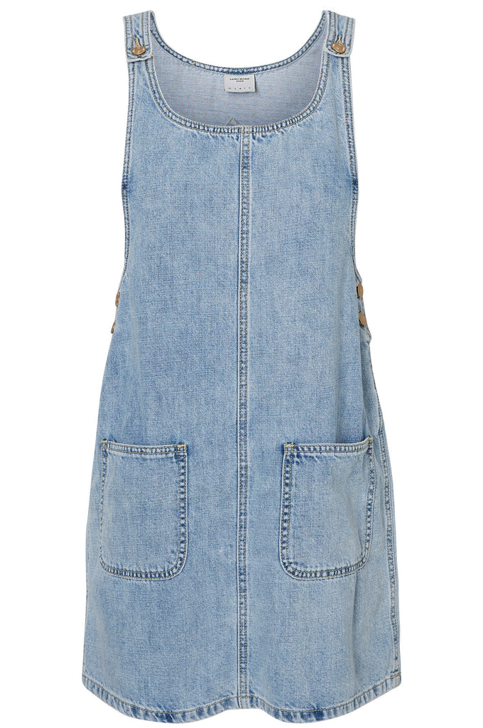 ROBE-SALOPETTE EN DENIM BLEU DENIM PALE