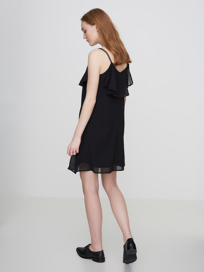RUFFLED LOOSE SHORT DRESS BLA CK