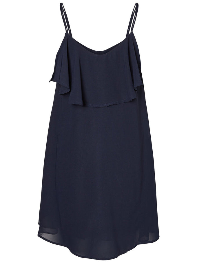 RUFFLED LOOSE SHORT DRESS NAVY BLAZER