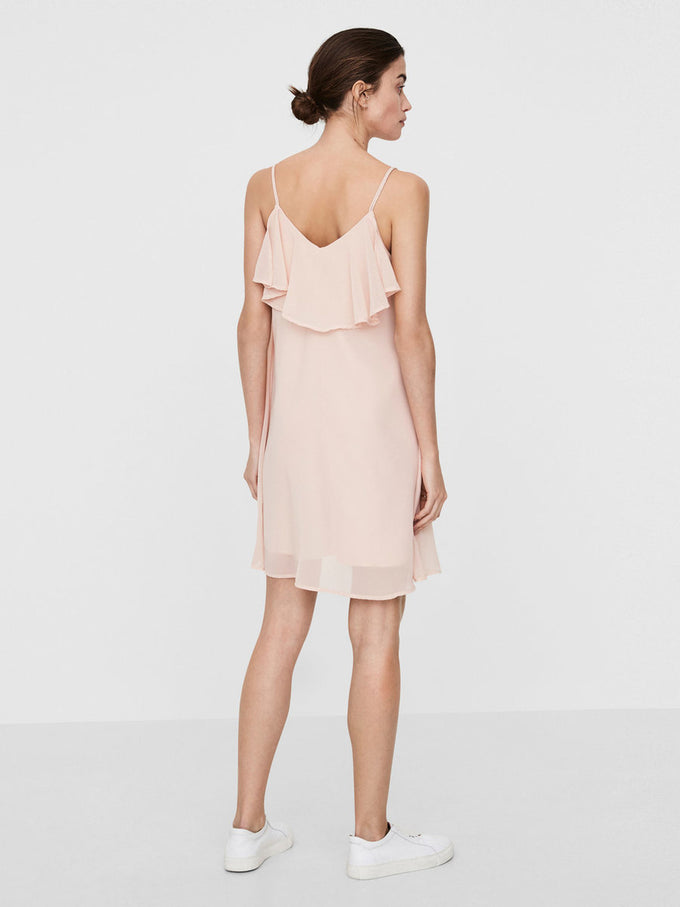 RUFFLED LOOSE SHORT DRESS PEACH WHIP