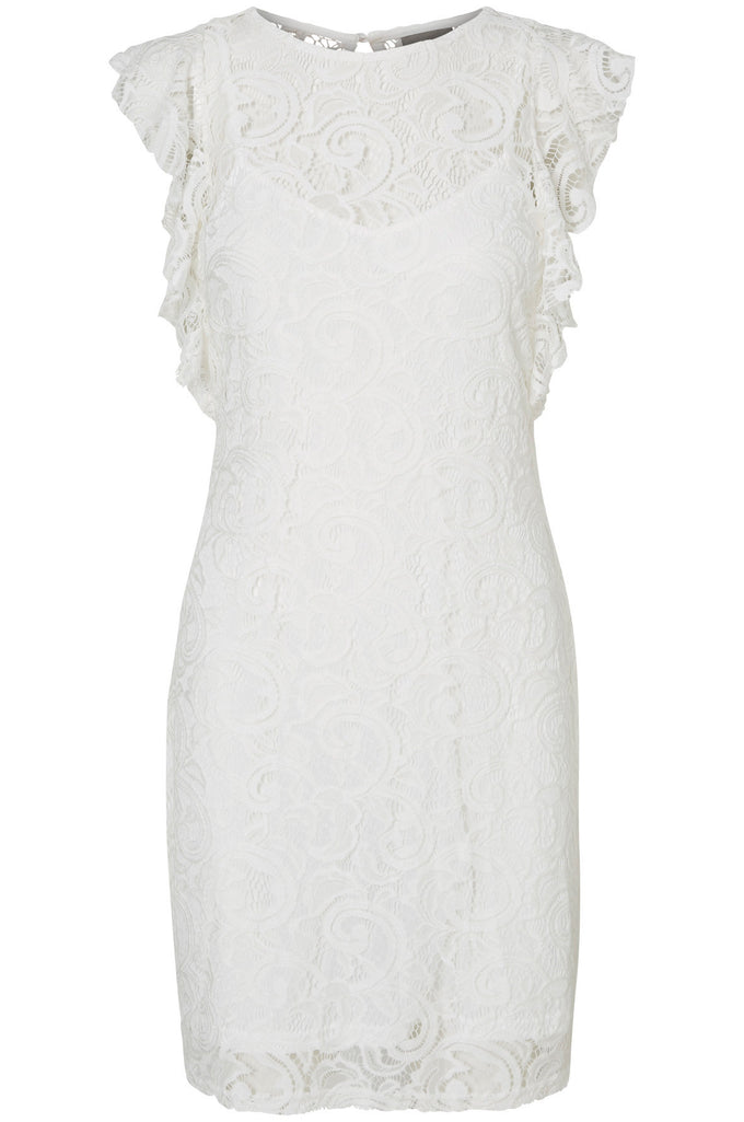 RUFFLED LACE DRESS BRIGHT WHITE