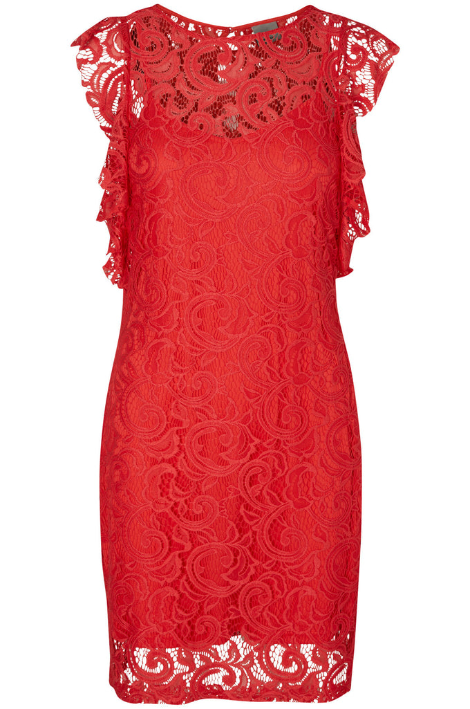 RUFFLED LACE DRESS HIBISCUS