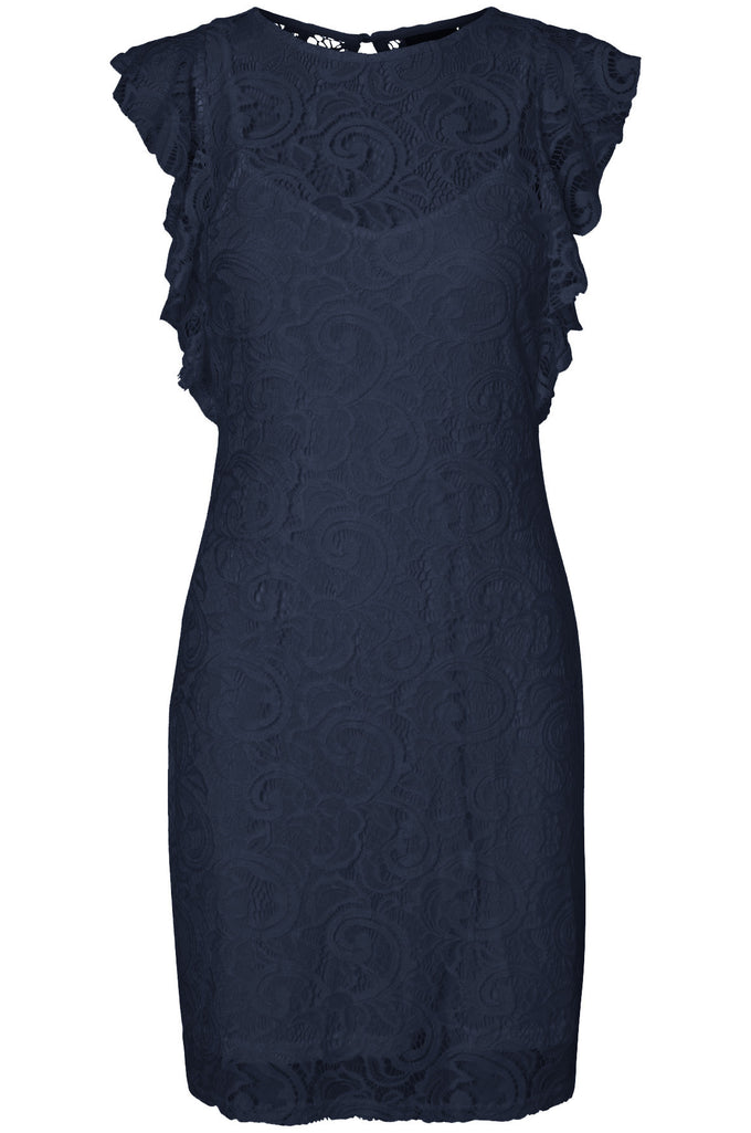 RUFFLED LACE DRESS NAVY BLAZER