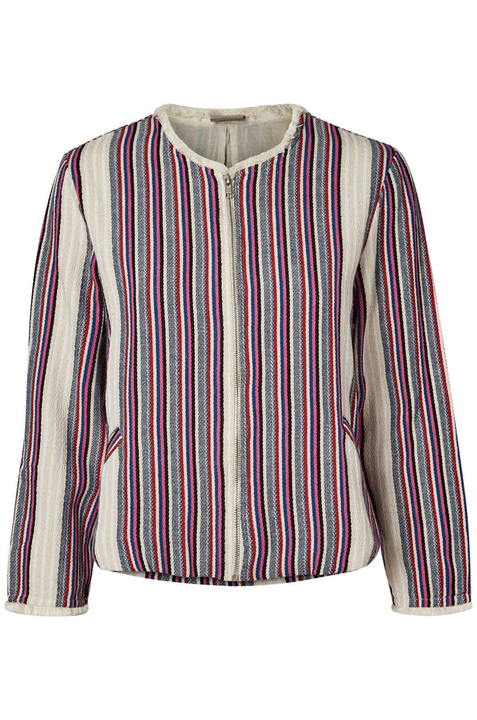 STRIPED TEXTURED BLAZER SNOW WHITE