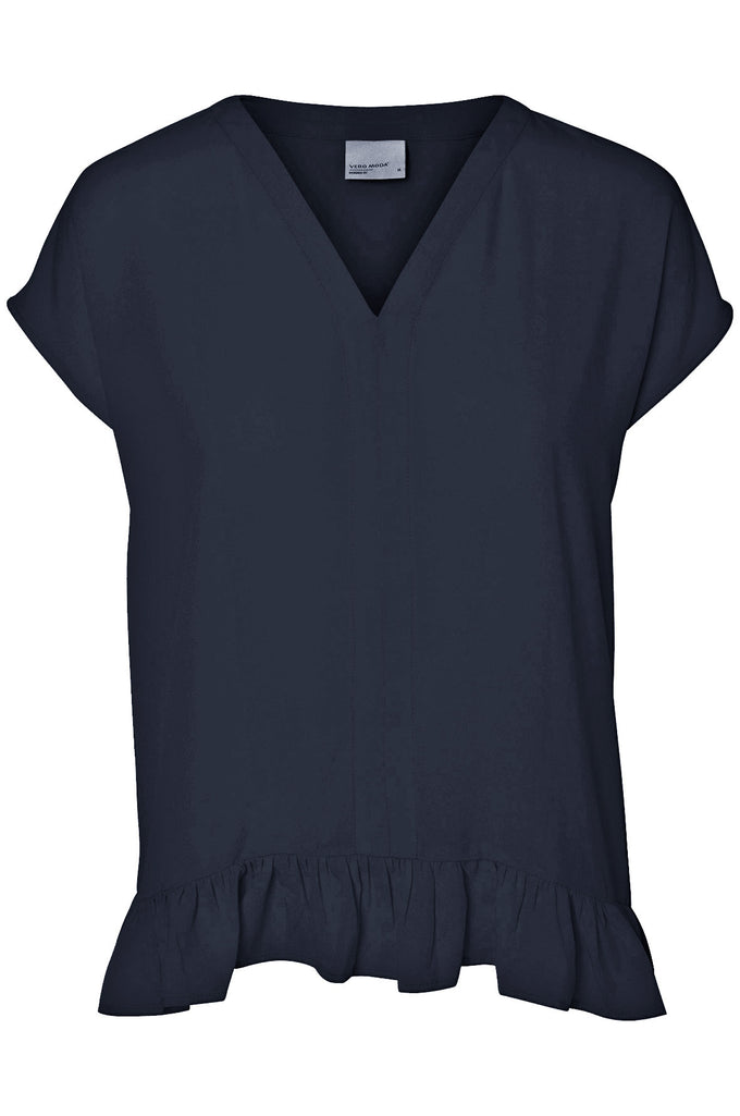 RUFFLED LOOSE BLOUSE NAVY BLAZER