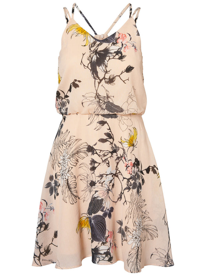 PRINTED SLEEVELESS DRESS CREAM TAN
