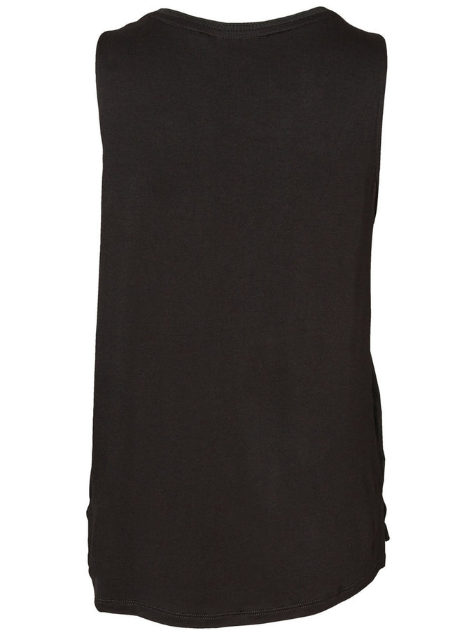 HIGH-LOW SLEEVELESS BLOUSE BLACK